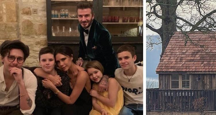 David e Victoria Beckham com os filhos