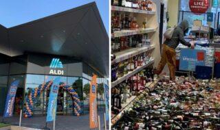 Mulher destroi supermercado